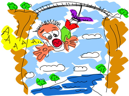 plunging: Bungee jumping vector drawing