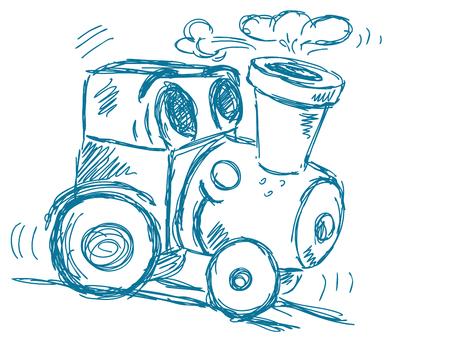 tren caricatura: Mano tren dibujado vectorial