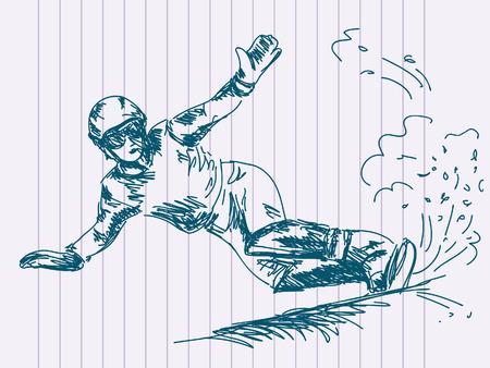 snowboarding: Hand drawn snowboarding Vector Illustration