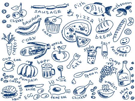 salt free: set of food doodles vector