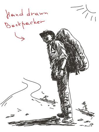 Hand getrokken backpacker Vector