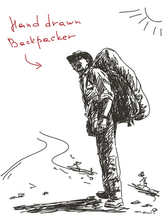 Hand drawn backpacker Vector