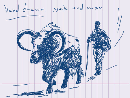 himalaya: Hand drawn yak and man Vector