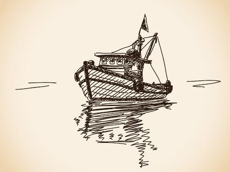 barca da pesca: Barca disegnata a mano Vettoriali