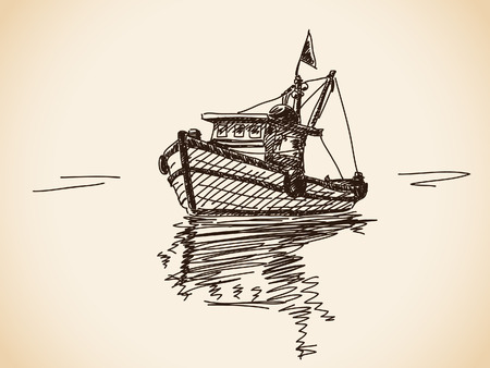 fishing catches: Hand drawn boat