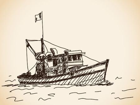 Hand drawn boat Vector