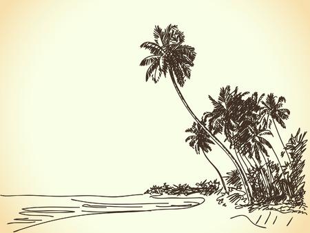 Hand getrokken strand met palmbomen