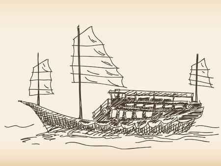 Chinese sailing ship Hand drawn Stock Vector - 37000579