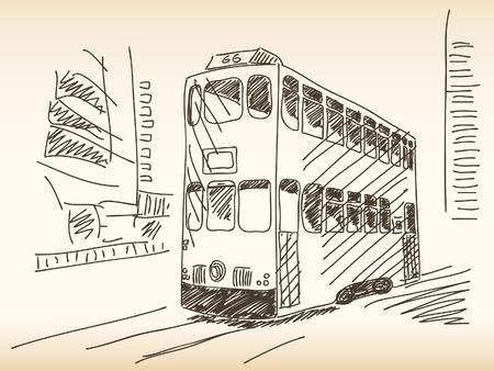 Dubbeldekkers tram Getrokken