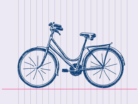 sports silhouette: Hand drawn bicycle