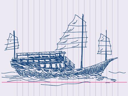 Chinese sailing ship Hand drawn Vector