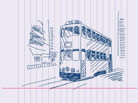 hong kong street: Double deckers tram Hand drawn