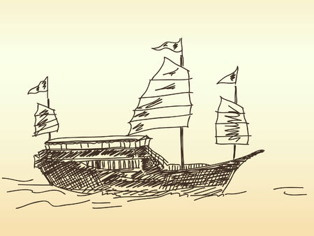 Chinese sailing ship Hand drawn Stock Vector - 37000617