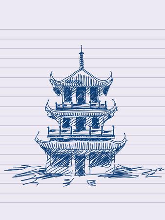 pavilion: Hand drawn chinese pagoda
