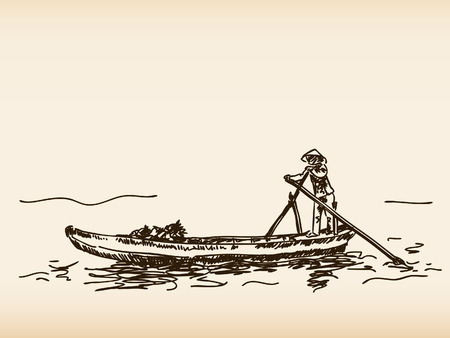 Hand drawn traditional vietnamese boat Ilustracja