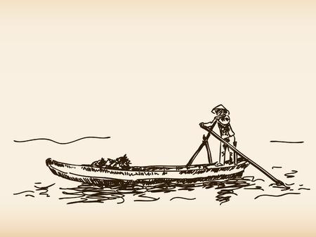 Hand getrokken traditionele Vietnamese boot Stock Illustratie