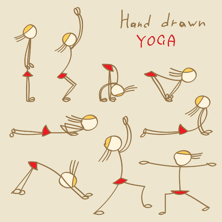 asana: Set of Hand Drawn Yoga Asana Illustration