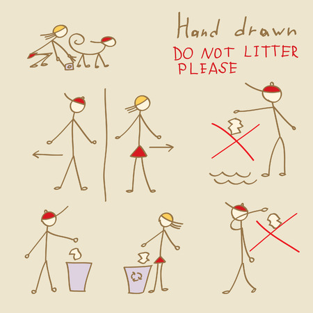 littering: Set of hand drawn people Do Not Litter