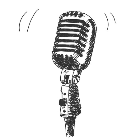 Mano micrófono del estudio elaborado Ilustración de vector