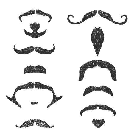 bigote: Dibujado a mano conjunto bigote