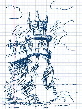 swallows: castle Swallows Nest in Crimea doodle vector