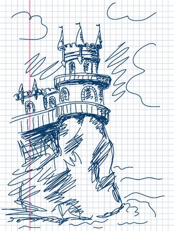 crimea: castle Swallows Nest in Crimea doodle vector