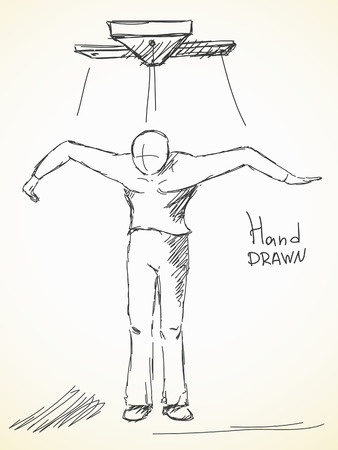 marionette: Hand drawn sketch of marionette man