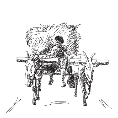 Cow carries a cart with farmer Hand drawn Ilustração