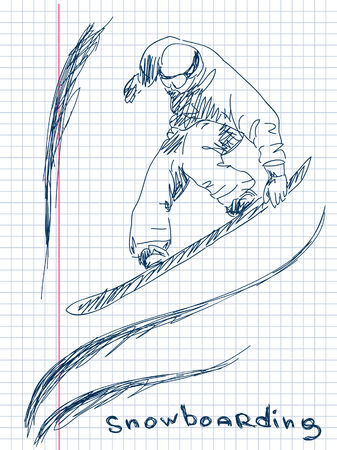 extremesport: Hand drawn snowboarding Vector Illustration
