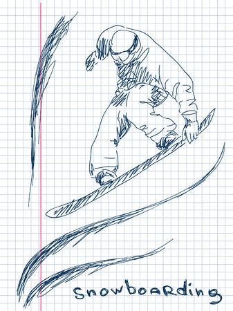 extremesport: Hand drawn snowboarding Vector Illustration