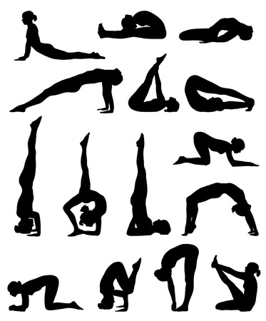 yoga poses silhouette collection. vector