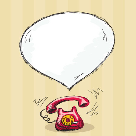 Hand drawn retro telephone with message bubble Illustration