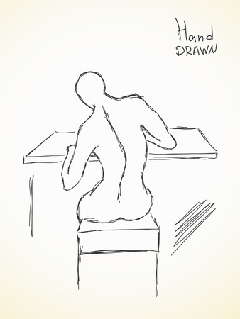 curvature: Hand drawn sketch of curvature of the spine