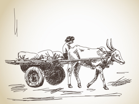 rural india: Cow carries a cart and man Hand drawn