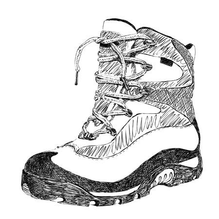 hand drawn doodle hiking boot vector Vetores