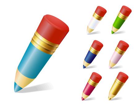 cartoon pencil: set of color pencils vector
