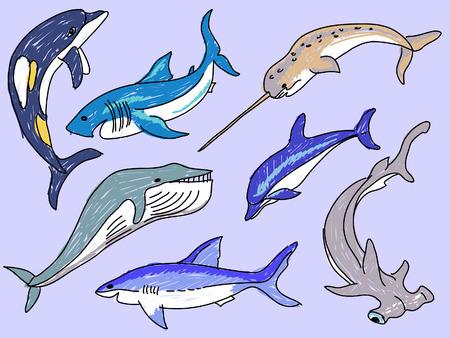 sea animals: sea animals simple drawing vector