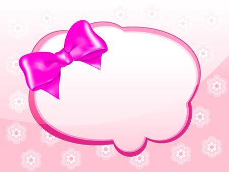 mo�o rosa: Tarjeta del mensaje con el arco rosado Vectores