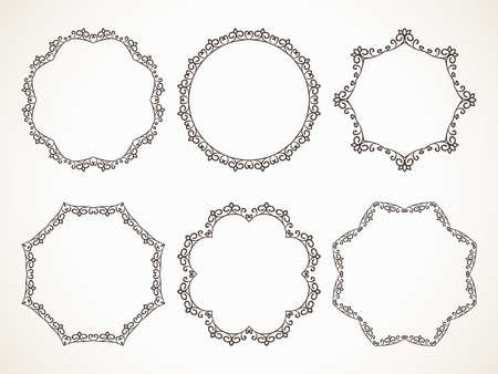 Ornamental calligraphic round frame, set