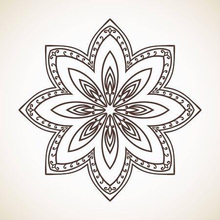 Round flower pattern, Circular ornament design element Illustration