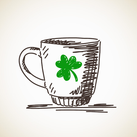 Sketch of mug with clover leaf illustration