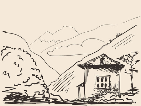 Sketch of house on background of mountains, drawn illustration