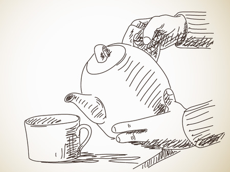 Pour tea from teapot into cup, sketch, drawn illustration