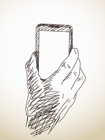 holding smart phone: Hand holding smart phone, sketch, drawn illustration Illustration