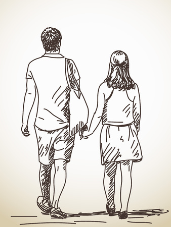 Walking couple back view sketch drawn illustration Ilustração