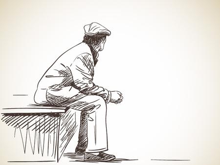 Sketch of old man sitting, Hand drawn illustration