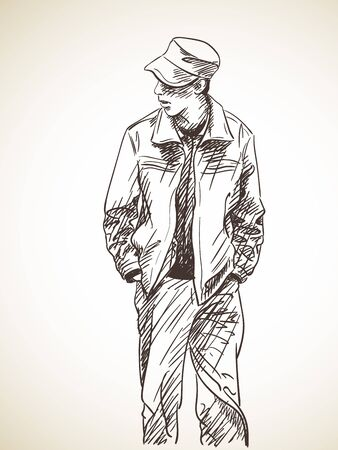 Sketch of man with hands in his pockets, Hand drawn illustration Ilustração