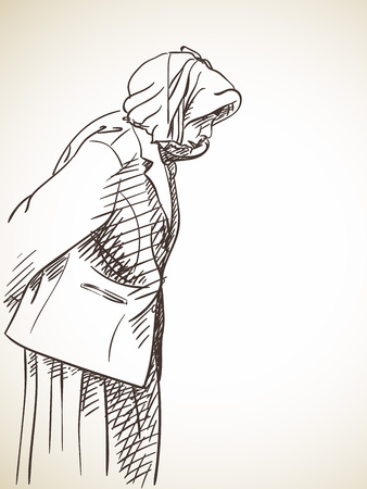 Sketch of old woman from side, Hand drawn illustration