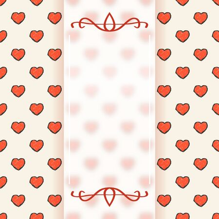 Transparent white banner on heart background, Template for design Ilustração