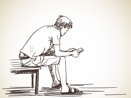 Sketch of man using smartphone sitting on bench, Hand drawn vector illustration